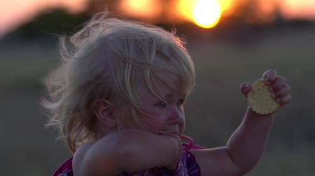 Young girl in the field during sunset. Little girl at sunset close-up. Portrait of an attractive little girl on the background of the sky with developing hair at sunset. Portrait of a beautiful little girl with blond long hair during sunset. Slow motion.