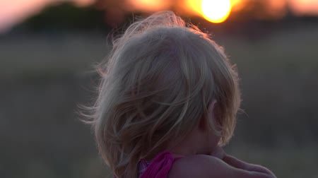 izlenim : The little girl is watching the sunset. The child admires the setting sun in the evening. A child in the meadow during sunset. The unity of man with nature. Beautiful view of the setting sun. The girl looked thoughtfully into the distance. Slow motion. Th Stok Video
