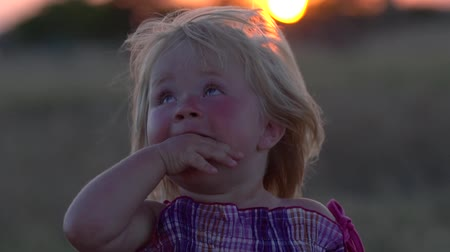 harmonia : Little girl in the meadow during sunset. Baby holds fingers in mouth teething. Girl in a field during sunset with developing hair in the wind. A child with a thoughtful look. Village children.