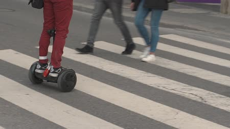 two wheeled : Environmentally friendly form of transport. Electricity transportation. Transport of the future. Alternative vehicle types. Hoverboard on the electric battery.