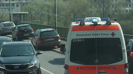Ambulance cars. Germany, Trier, April 1, 2019 Ambulance is in a hurry to call Stock mozgókép