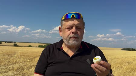 Senior farmer eating cucumber and boiled egg while sitting outdoor against harvested wheat field