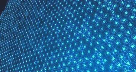 Abstract triangular particles on blue background Stok Video
