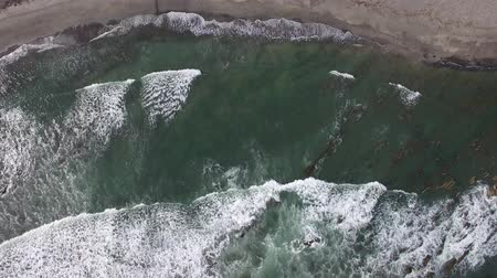 havai : waves on sandy shore aerial view sideways motion Stok Video