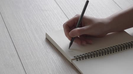 letras : Female hand writes a note in a notebook. A letter to a friend. Poetry in the reflected light. Slow writing.