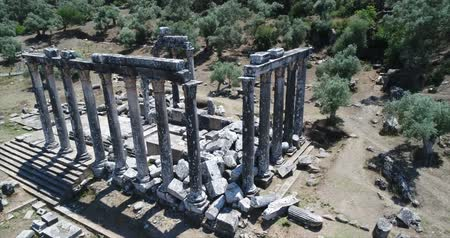 efeso : Vista aérea de lugares históricos - Euromos Temple, Aegean Turkey Archivo de Video
