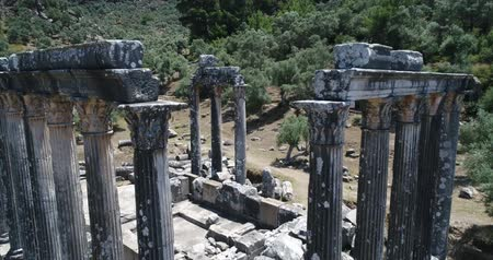 seljuk : Aerial View Of Historical Places - The Temple Of Zeus Lepsynos At Euromos Stock Footage