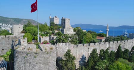 seljuk : Aerial View of Historical Places - Bodrum Castle In Turkey Stock Footage