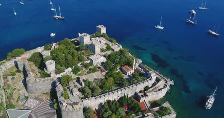 seljuk : Aerial View Of Historical Places Castle Of St Peter Bodrum City In Turkey Stock Footage