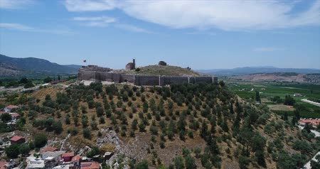 seljuk : Aerial View of Historical Places - Ayasuluk Inner Castle in Selcuk Stock Footage