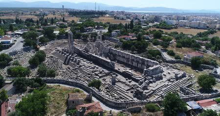 seljuk : Aerial View of Historical Places - The Temple of Apollo at Didyma Stock Footage