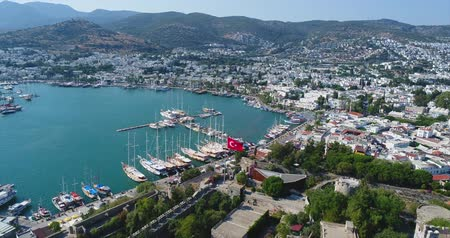 seljuk : Aerial View of Historical Places - Bodrum Castle Stock Footage