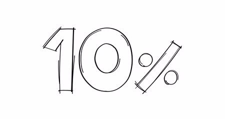 ten : 10 percent hand-drawn doodle line animated. Stock Footage