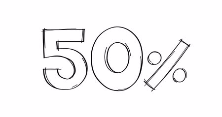 fifty : 50 percent hand-drawn doodle line animated.