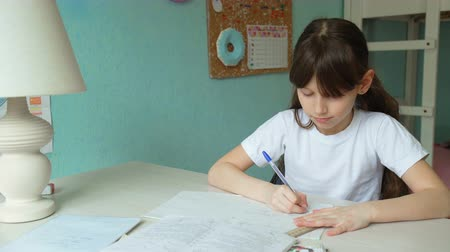 implementation : successful home education. Cute girl learning homework