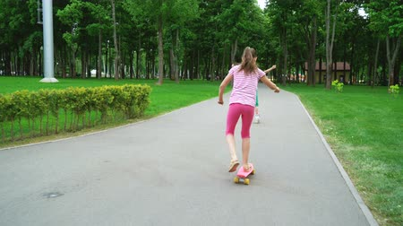 skateboard : Active leisure time in park. Two caucasian, cheerful girls skating on rollers and skateboard. Wellness, health and family concept Stock Footage