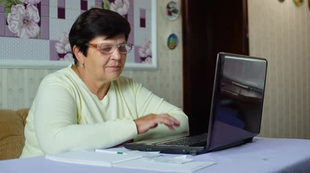 daily life : Senior old woman in eyeglasses checking costs of daily expenses on laptop at home. White caucasian female pensioner using computer calculating tax. Retirement, pension, technology, finance concept Stock Footage