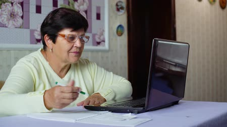 расходы : Senior old woman in eyeglasses checking costs of daily expenses on laptop at home. White caucasian female pensioner using computer calculating tax. Retirement, pension, technology, finance concept Стоковые видеозаписи