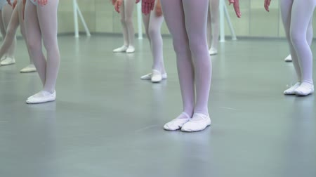 тапочка : closeup legs of little ballerinas group in white shoes practicing in ballet studio. Young girls training positions of classical dance exercise. Childhood, dancing, lifestyle concept