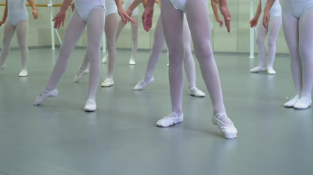 testtartás : closeup legs of little ballerinas group in white shoes practicing in ballet studio. Young girls training positions of classical dance exercise. Childhood, dancing, lifestyle concept