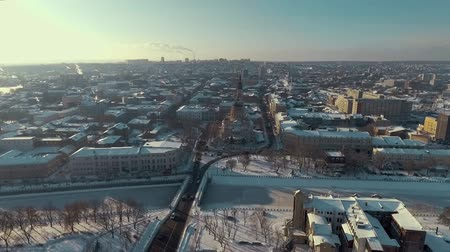 sobor : Aerial of city landscape in winter, orthodox church Blagoveshenskii Sobor. city buildings and roads Stock Footage