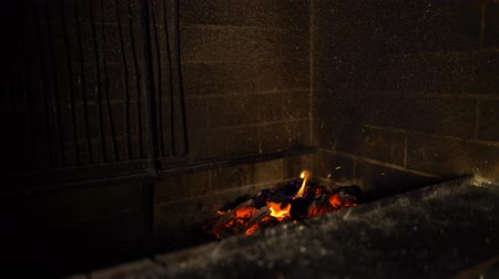 firebox : fire flames of burning wood in traditional brick oven in the dark. warm, cozy, relax