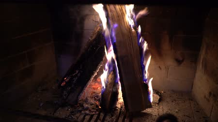 firebox : burning wood in fireplace in the dark Stock Footage