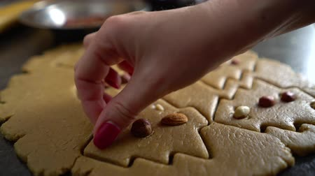 enrolado : woman hand decorates raw cookies cut in form of christmas tree with nuts closeup