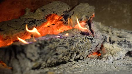 firebox : wood burning in fireplace in slow motion closeup
