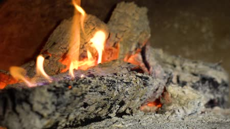 firebox : closeup of wood burning in fireplace in slow motion Stock Footage