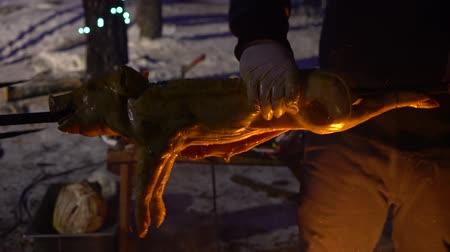 špejle : hands binding piglet hoofs while roasting it on open fire outdoors at night
