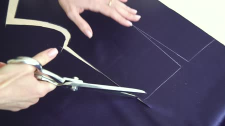 couturier : closeup of young woman hands cutting fabric with scissors Stock Footage
