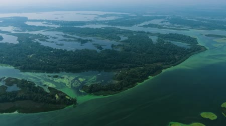 ścieki : aerial of big river with small islands polluted with blue green algae