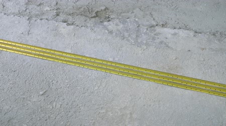 reinforced : construction reinforcement rails laying on concrete floor Stock Footage