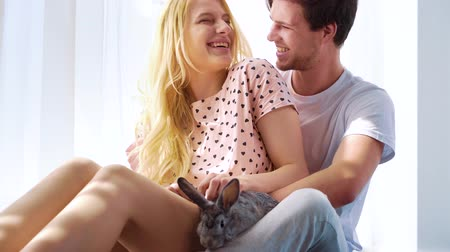 pat : sunshine on lovely couple in sleep wear sitting on floor with domestic rabbit