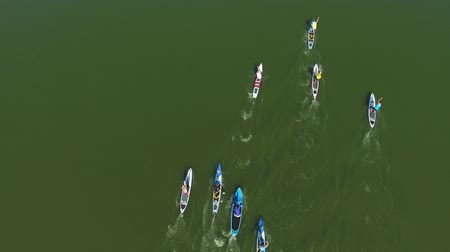 опытный : aerial top down shot of stand up paddle competition on dark green water
