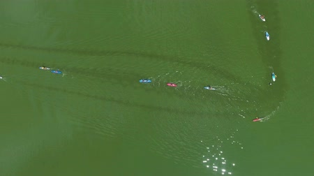boa : aerial top down of paddlers on kayaks and SUP boards compete at water race