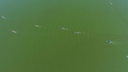 経験豊かな : aerial of stand up paddle racers competing on dark green river