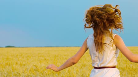 mindset : following shot of red haired woman running in wheat field in slow motion Stock Footage