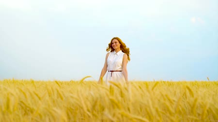 saçlı : young playful red haired woman smiling at camera and hiding in wheat field Stok Video