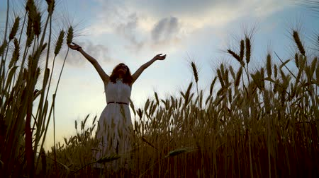 positive vibes : low angle shot of young woman raising up her arms in wheat field at sunset