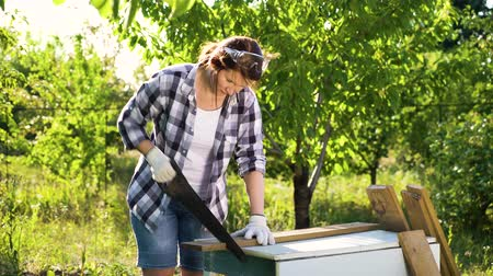 obnovit : caucasian woman woodworker handsawing wooden plank in sunny orchard