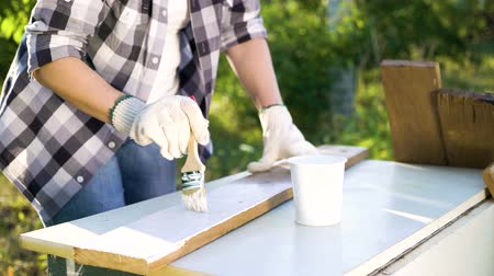 faca : closeup of woman hands painting wooden plank with white paint in sunny backyard