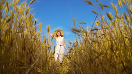 saçlı : Happy romantic red haired woman walking on wheat field