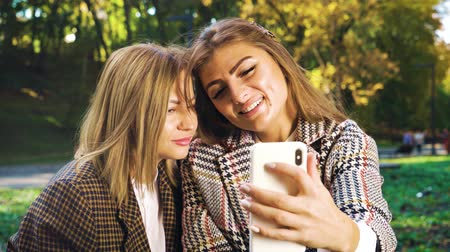 jovial : Best friends taking selfie in golden autumn park Vídeos