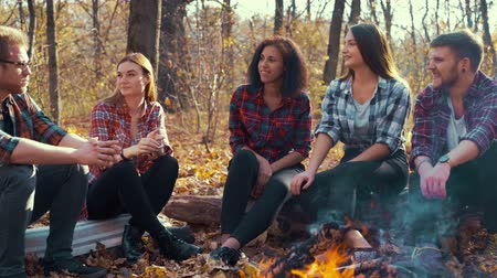 Multiracial group of hikers storytelling by campfire in autumn forest