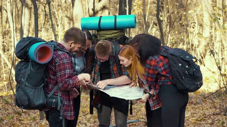 Young hikers searching map for right direction in autumn forest