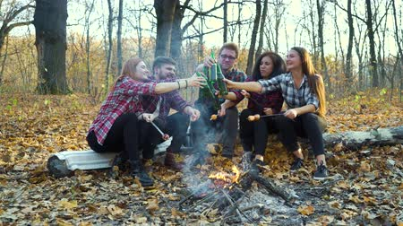 Happy friends enjoying picnic with beer by campfire in autumn forest