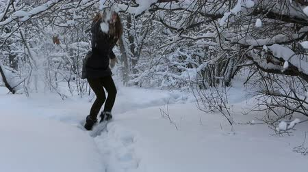 congelado : Beautiful frightened girl runs away from an imaginary villain in snowy forest.