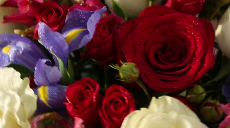cor de malva : Beautiful bouquet roses, iris and alstroemeria quickly rotating. Stock Footage